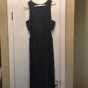 Long black maxi dress with side cutouts
